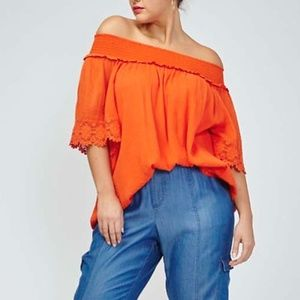 Lane Bryant - Off The Shoulder Orange Top 26/28